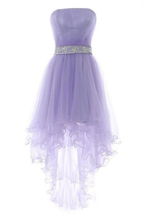 Strapless Lavender High Low Party Dress