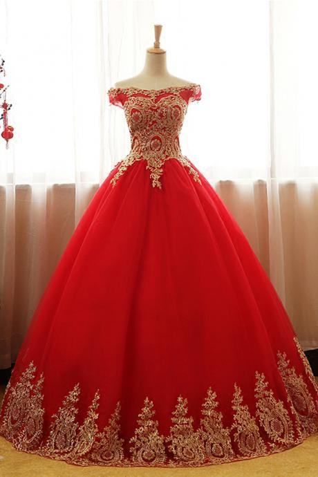 Off the Shoulder Red Ball Gown Quinceanera Dress with Gold Appliques