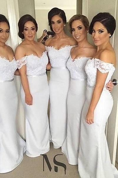 Off-shoulder White Floor Length Long Lace and Satin Bridesmaid Dresses Eevening Dress Prom Gown