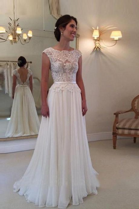 Open Back Wedding Dress Sabrina Neckline Sheer Lace Bodice Bridal Gown