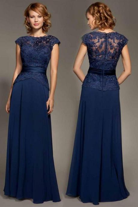 Mother of the Bride Dress Navy Floor Length Wedding Party Dress Formal Occasion Gown