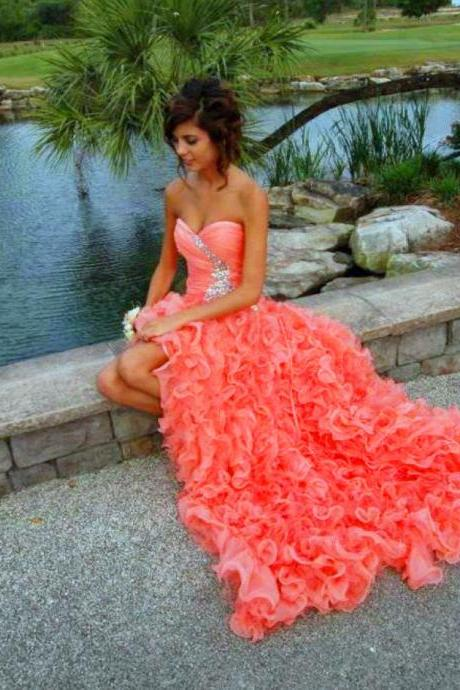 Ruffled High Low Prom Dress