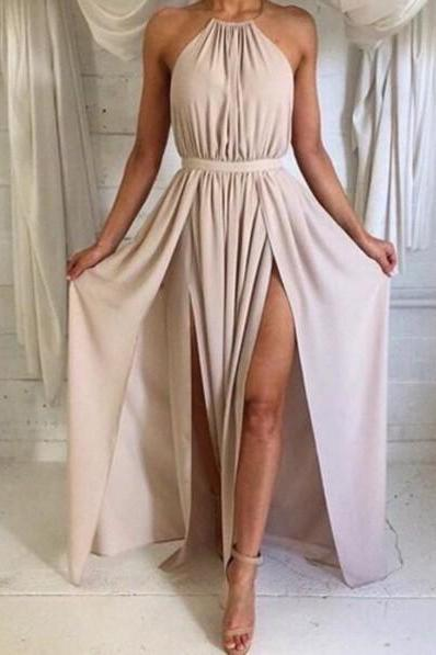 Nude Sexy Halter Floor Length Long Maxi Party Dress with Size Slits