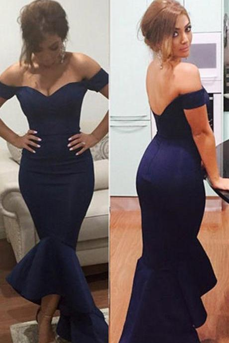Off-the-shoulder Navy Mermaid Dress