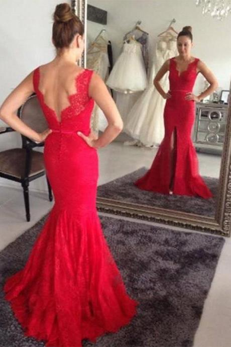 Red Lace Mermaid Evening Dress Prom Gown Formal Occasion Party Dress with Slit