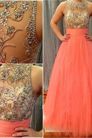 Jewel Neckline Bling Bling Beaded Bodice Coral Evening Dress Prom Dress with Ruched Belt