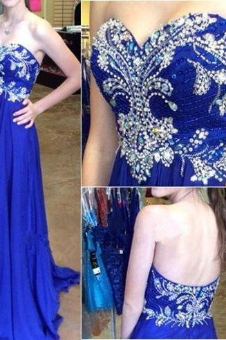 Sweetheart Fully Beaded Royal Blue High Low Prom Dress