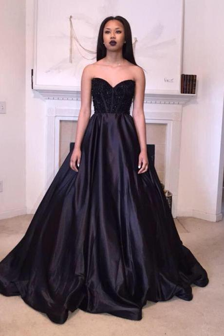 Black Sweetheart Floor Length Prom Dress Evening Gown with Black Beadings and Sequines