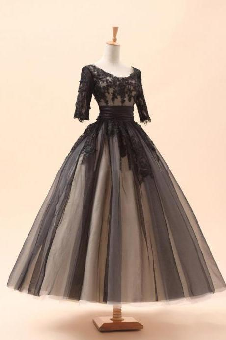 3/4 Sleeves Champagne Lining with Black Lace Overlay Tea Length Formal Occasion Dress