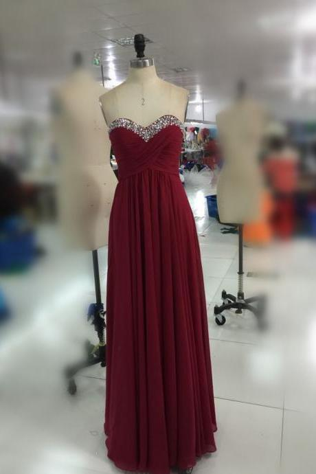 Burgundy Sweetheart with Rhinestones Zipper Back Formal Occasion Gown Party Dress
