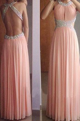 Sexy Backless Blush Pink Halter Long Party Dress with Beadings