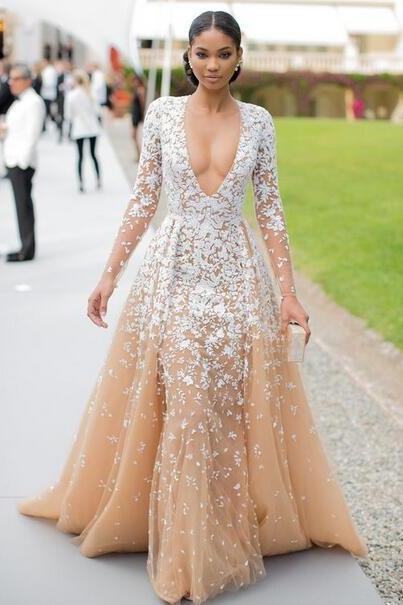 Plunging Neck Long Sleeves Celebrity Dress Sexy Formal Occasion Dress