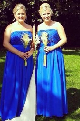 Strapless Ruched Royal Blue Bridesmaid Dresses