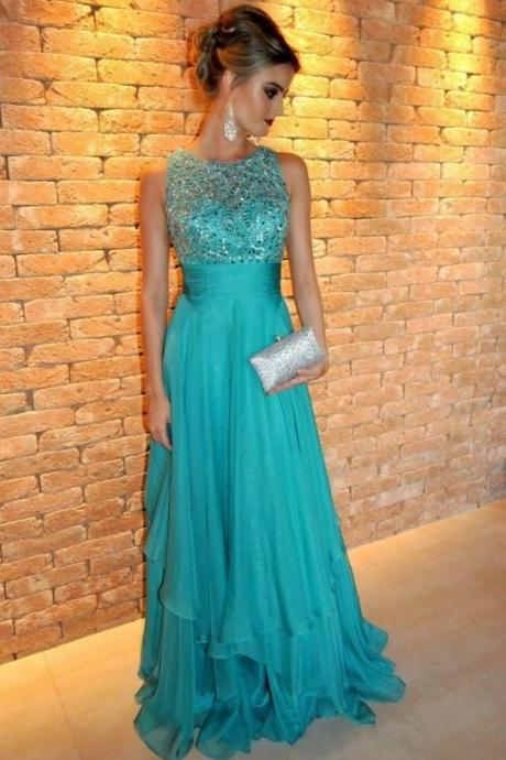 Prom Gown Jewel Neckline Beaded Bodice and Tiered Skirt Floor Length Evening Dress