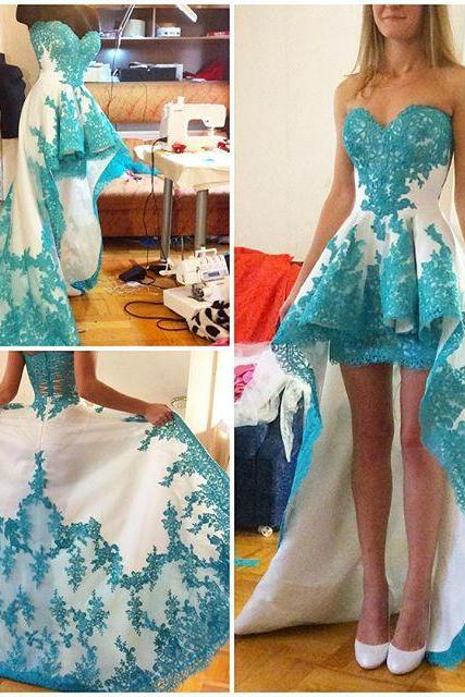 Prom Dress Sweetheart High Low Party Dress with Appliques
