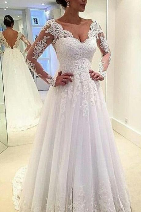 Queen Anna Neckline Open Back Long Sleeves Lace Wedding Dress