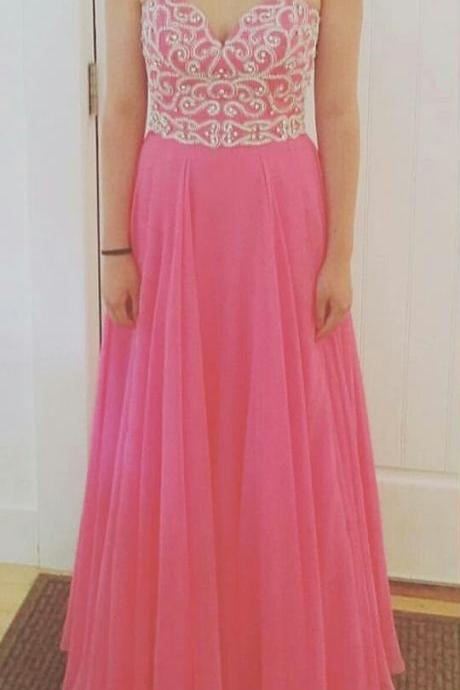 2016 Beaded Sweetheart Floor Length Evening Party Dress Prom Gown