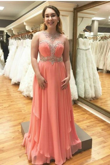 Beaded Illusion Neckline 2017 Prom Dress Personalized Evening Dress