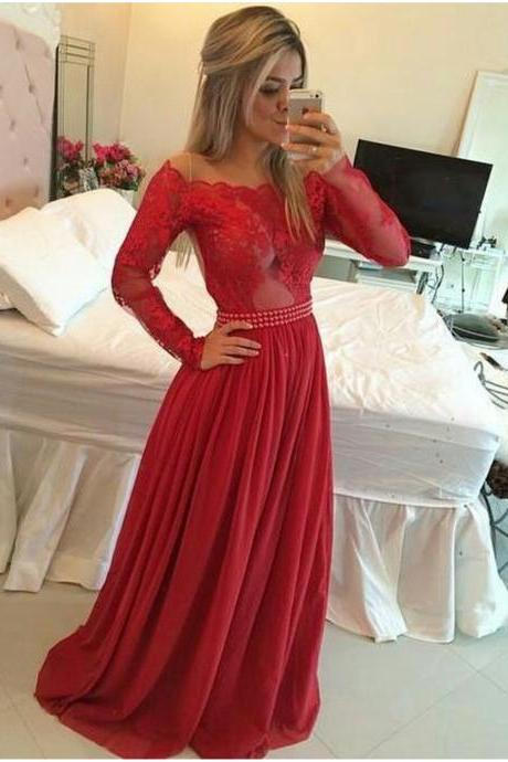 Red Long Sleeves Lace and Chiffon Formal Occasion Dress