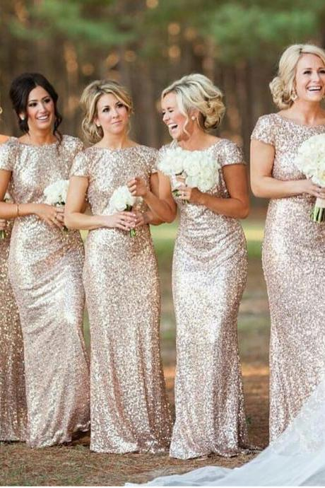 Sequined Cap Sleeves Bridesmaid Dress