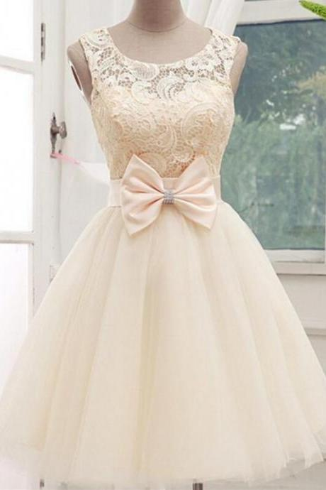 Champagne Scoop Neckline Short Prom Homecoming Graduation Dress