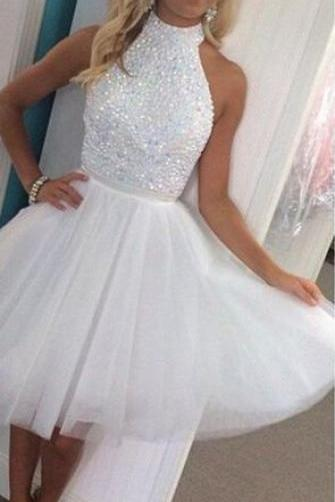 White Halter Short Graduation Prom Dress
