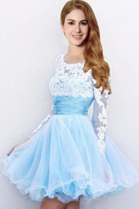 Prom Dress Full Sleeves Knee Length Blue Organza Homecoming Graduation Dress with Lace