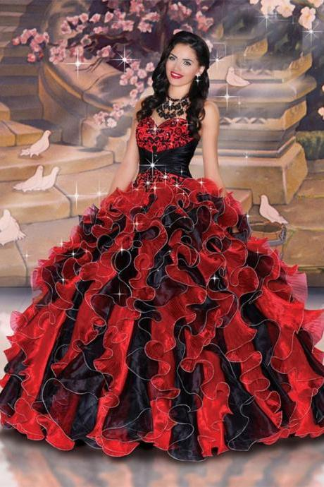 Quinceanera Dress Sweetheart Neck Floor Length Corset Back Ruffled Ball Gown