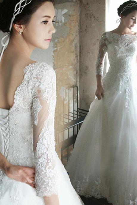 Princess Wedding Dress 3/4 Sleeves Lace-up Back Floor Length Bridal Gown with Sequins Beading