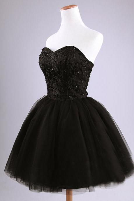 Party Dress Knee Length Short Black Lace and Tulle Ball Gown Homecoming Dress with Beading