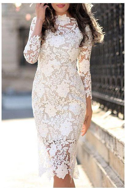 3/4 Sleeves Knee Length Short Lace Street Dress