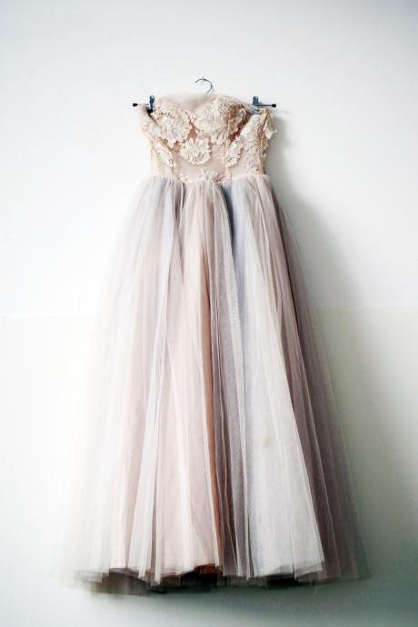 Strapless Tea Length Grey over Blush Tulle Homecoming Dress with Lace Floral