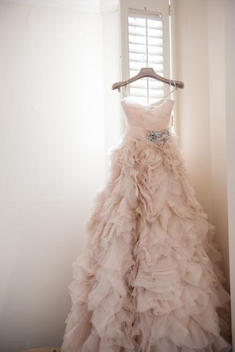 Blush Long Ruffle Wedding Dress Featuring Spaghetti Straps Ruched Sweetheart Bodice