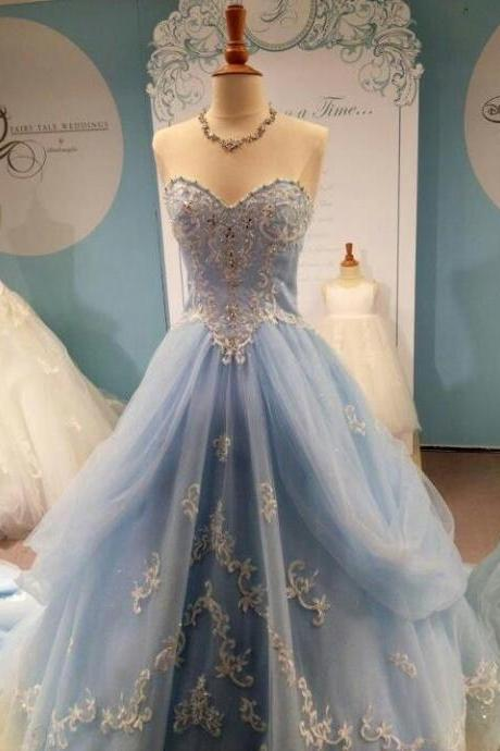 Cinderella Sky Blue Ball Gown Prom Dress