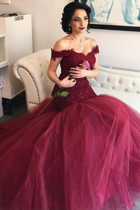 Burgundy Mermaid Wedding Dress Off the Shoulder Bridal Gown
