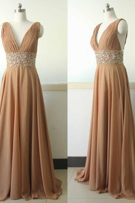 Ruched V Neck Formal Evening Dress with Beaded Waist