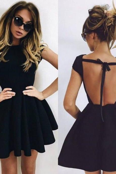 Black Backless Short Mini Homecoming Dresses