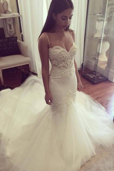 Mermaid Wedding Dress with Pearls