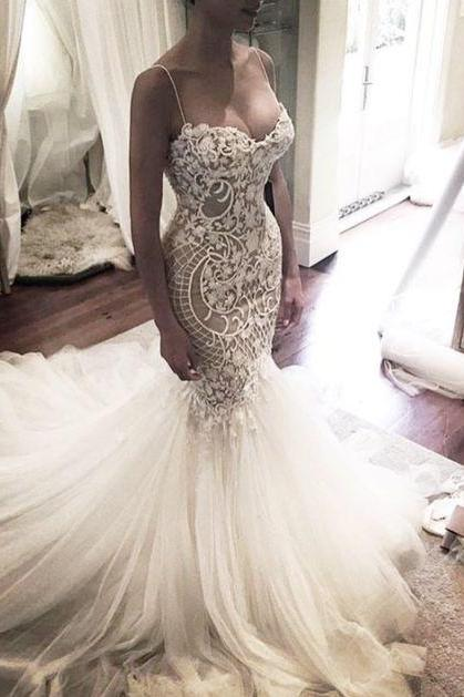 Mermaid Wedding Dress with Spaghetti Straps