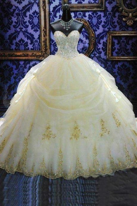 Ball Gown Sweetheart Appliques Cathedral Wedding Dress