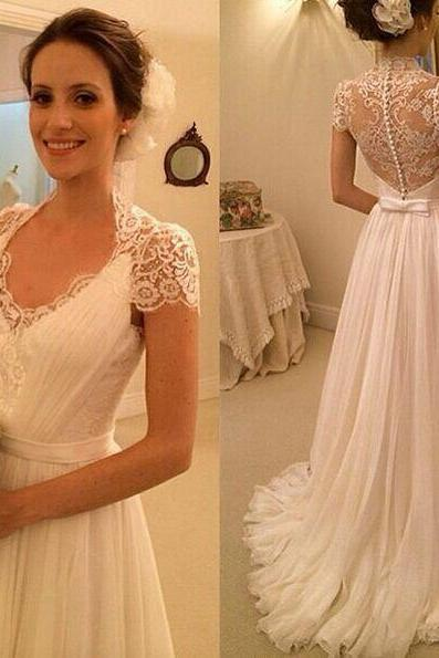 Lace Plunge V Cap Sleeves Floor Length A-Line Wedding Dress Featuring Illusion Open Back and Sweep Train