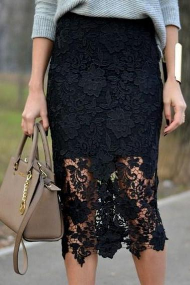 Tea Length Black Lace Skirt