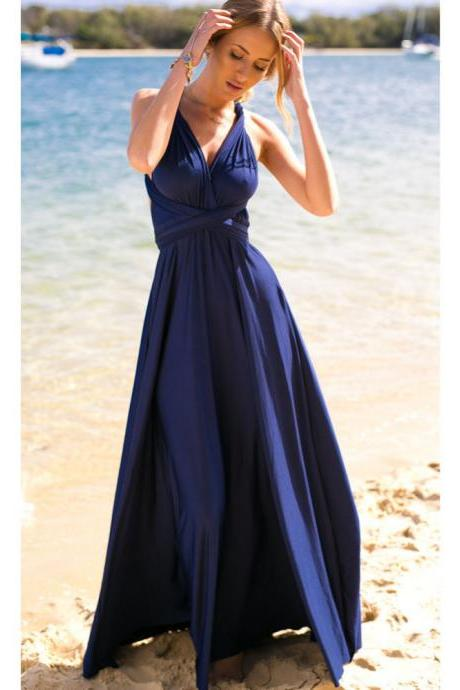 Gracian Inspired Navy Halter Maxi Dress