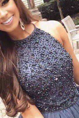Dark Gray Halter Beaded Homecoming Dress Short Graduation Dress