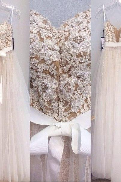 Champagne Wedding Dress with Ivory Appliques Pearls Beads