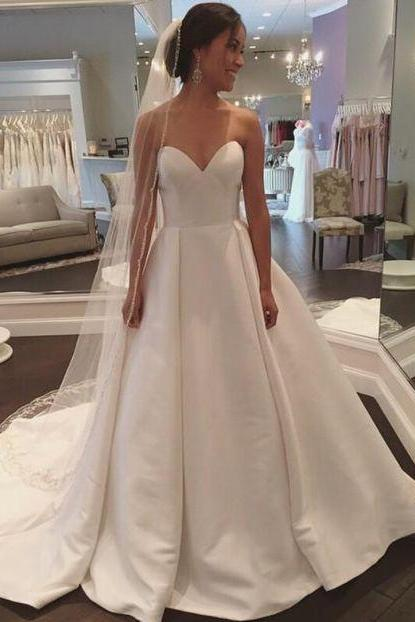 Simple Bridal Gown Sweetheart Ivory Satin Wedding Dress