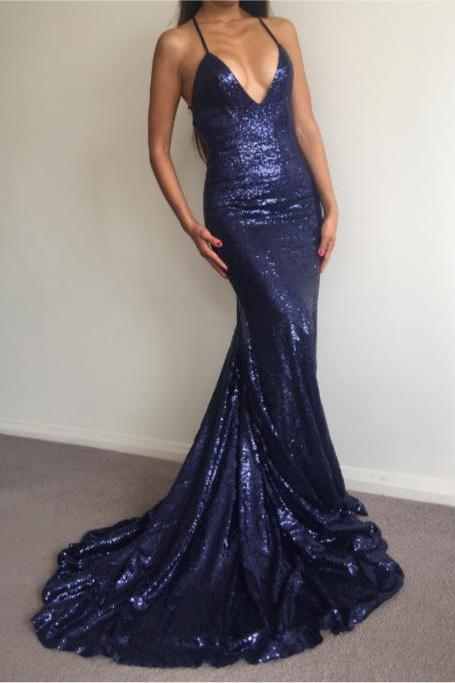 Backless Navy Sequin Prom Dress