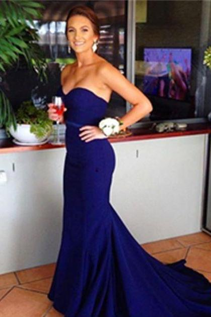 Sleeveless Sweetheart Royal Blue Mermaid Prom Dress Formal Occasion Dress Evening Dress