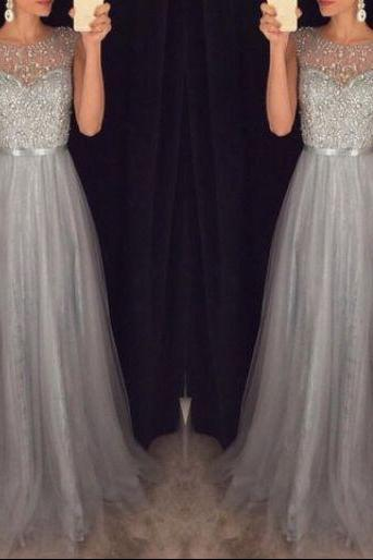 Gray Prom Dress Evening Gown