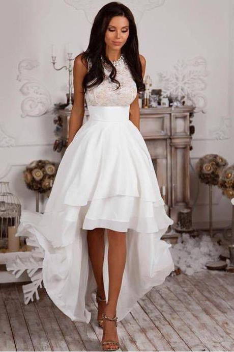 High low White Prom Dress Homecoming Dress